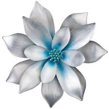 silver flowers silver and blue flower pin polyvore
