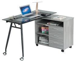 Office Desk With Wheels L Shape Black Glass Portable Office Desk Computer Pc Laptop Desk
