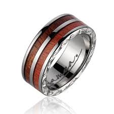 wooden wedding bands kanoa genuine pink ivory hawaiian koa wood wedding band with