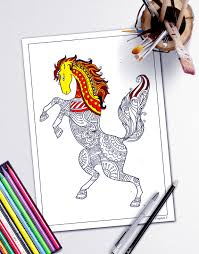 coloring book page stress relieving animal designs