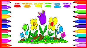draw coloring colorful flower garden colored for kids learning