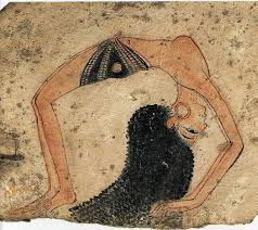 information on egyptain hairstlyes for and ancient egyptian depiction of topless dancer with elaborate