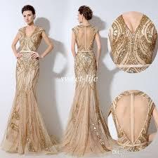 evening dress vintage gold evening dresses luxury sequins beading keyhole back