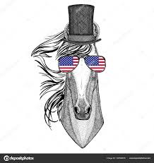 Horse With American Flag Horse Hoss Knight Steed Courser Wearing Cylinder Top Hat And