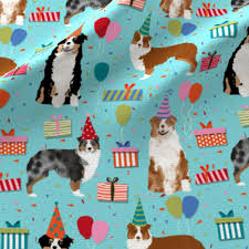 t shirt australian shepherd aussie australian shepherd fabric turquoise birthday party fabric