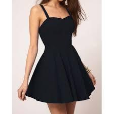 black skater dress solid color sweetheart neck pleated backless skater dress