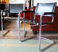 Italian Leather Side Chairs Tubular Steel Chrome Chairs Black - Italian design chairs