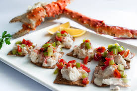canape 1 place alaskan king crab canapés with bloody salsa carrotsticks and