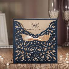 wedding invitations kraft paper 2017 new arrival hollow blue flora with ribbons laser cut wedding