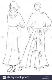 sketch of fashion model dress design by peasant motifs stock