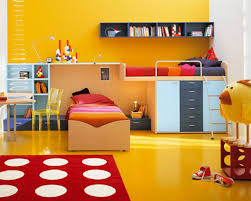 bedroom modern boys kids room with cherry wood frame bunk bed in