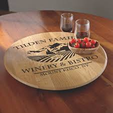 small lazy susan for kitchen table personalized american oak chateau lazy susan wine enthusiast