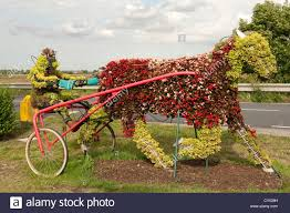 Flower Topiary Ornate Decorative Flower Topiary In Shape Of Horse And Cart Stock