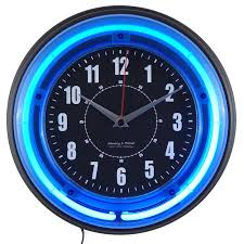 wall watch 11 blue neon analog wall clock walmart com