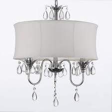 Pendant Light Drum Shade White Drum Shade Crystal Ceiling Chandelier Pendant Light Fixture