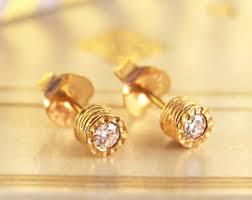 real diamond earrings real diamond earring etsy