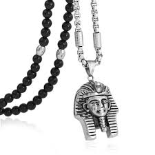 black natural stone necklace images 316l stainless steel king tut pendant necklace with black natural jpg