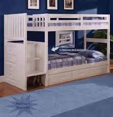 White Wooden Bunk Bed Bedroom Wooden Bunk Beds With Stairs Plus Drawers And Bookcase