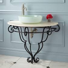 Teal Powder Room Michel Wall Mount Wrought Iron Vessel Sink Stand With Stone Top