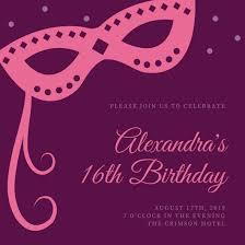 sweet 16 invitations masquerade