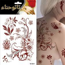 new palm 1pcs wine red flower large temporary tatts henna tattoo