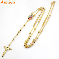 rosary chain necklace images Anniyo our lady virgin mary long rosary necklaces bead chain cross jpg