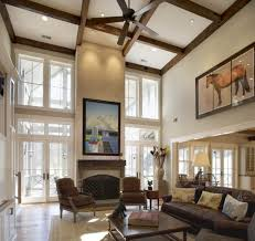 Cathedral Ceilings In Living Room Cathedral Ceiling Living Room With Wooden Exposed Beams And
