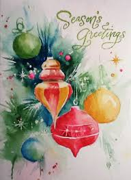 Christmas Ornaments For Painting by Watercolor Christmas Card Ornaments