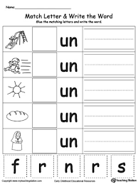 un word family match letter and write the word word families