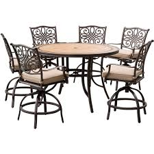 hanover monaco 7 piece outdoor bar h8 dining set with round tile