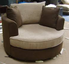 round dark brown fabric reading chair with beige seat complete