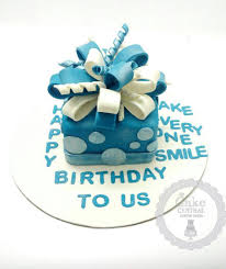 blue gift box cake by cake central premier cake design studio