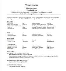 Ballet Resume Sample by Actors Resume Template Sample Free Acting Resume Template Download
