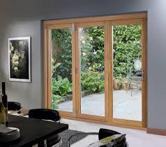 Brown Patio Doors Glass Sliding Doors With Brown Wooden Frame