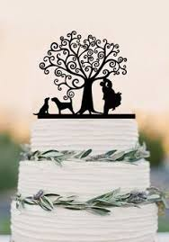 wedding cake topper custom bride and groom with two dogs