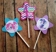 My Little Pony Party Centerpieces by My Lil Pony Cupcake Toppers My Lil Pony Birthday Decorations On