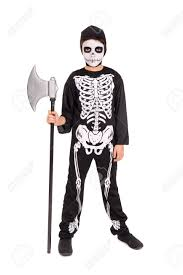 Skeleton Face Painting For Halloween boy with face paint and skeleton halloween costume isolated in
