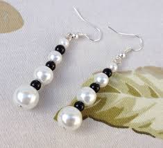 spacer earrings bridal white pierced earrings faux glass pearls black glass spacer