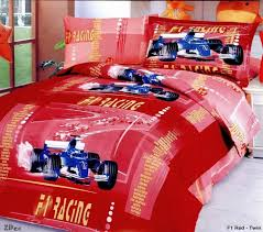 Boys Double Duvet Sets F1 Racing Red Duvet Covers For Kids Boys Bedding Sheet Sets