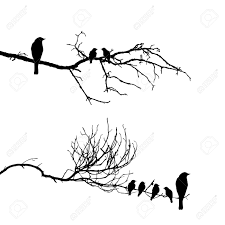 vector silhouette of the birds on branch royalty free cliparts
