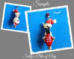 australian shepherd ornament tri blue merle australian shepherd santa dog ooak christmas