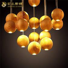Wooden Chandeliers Lighting Wood Handmade Wooden Chandelier Hanging Led Pendant L
