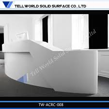 Small Salon Reception Desk by Tell World Custom Acrylic Solid Surface White Curved Hospital