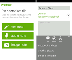 Templates Evernote by Evernote 2 1 For Windows Phone Adds Homescreen Pinning Templates