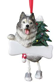 siberian husky ornament with unique dangling legs