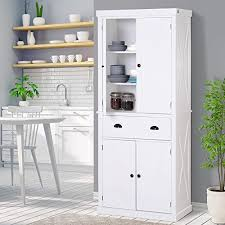 wooden kitchen pantry cupboard homcom 6ft wood farmhouse colonial kitchen pantry cabinet with 4 adjustable shelves 2 wood pantries 1 drawer white