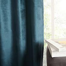 Blue Grey Curtains Velvet Curtains West Elm