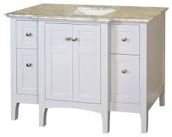 44 inch single sink vanity wood white cabinet only transitional