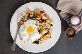 poached tuna tuna sweet potato and apple hash