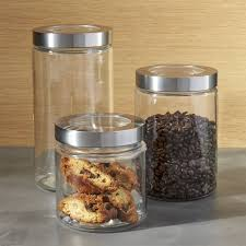 glass kitchen storage canisters shop glass storage canisters with stainless steel lids all purpose